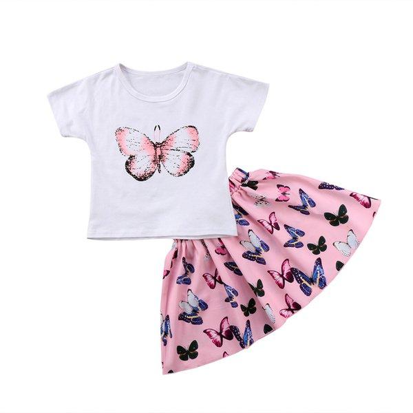 2pcs Pretty Girls Vêtements pour enfants bébé layette Ensemble T-shirt à manches courtes papillon Hauts Jupes enfants Filles Vêtements Tenues Set