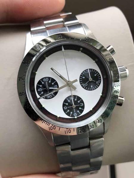 Reloj de lujo Vantage Función de cronógrafo de cuerda manual Esfera blanca 39 mm Stainess Steel Sapphire Glass Reloj para hombre