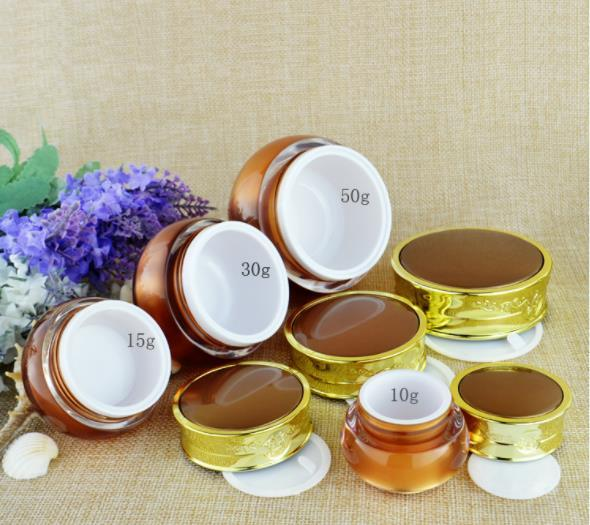 top popular 5g 10g 15g 30g 50g Cosmetic Jars Cream Empty Makeup Face Cream Refillable Containers Packing Bottle With Bamboo Cap xxp34 2021