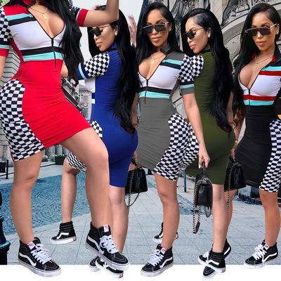 Bayan Tasarımcı Elbise Seksi Fermuar V Yaka Elbiseler Moda Parti Stil Bayanlar için Ekose Sıska Elbise Rahat Çizgili Bodycon 2019 Yaz