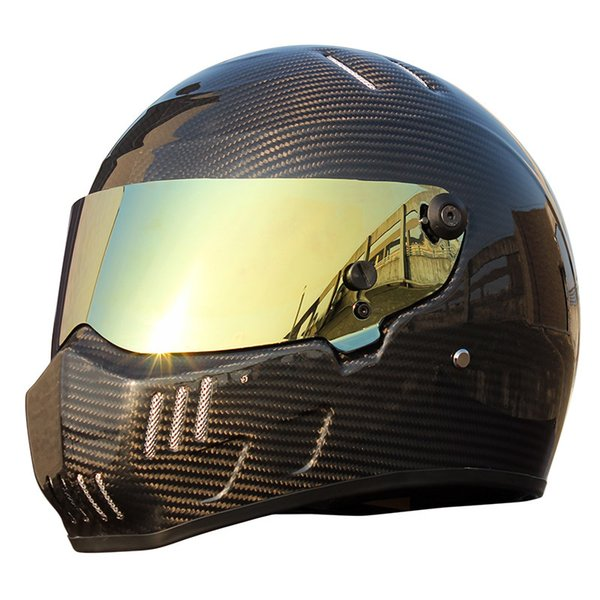 Acheter Casque Integral De Voiture De Karting En Fibre De Carbone Casque Moto Vintage Casque Moto Hommes Locomotive Voiture De Course De Motocross