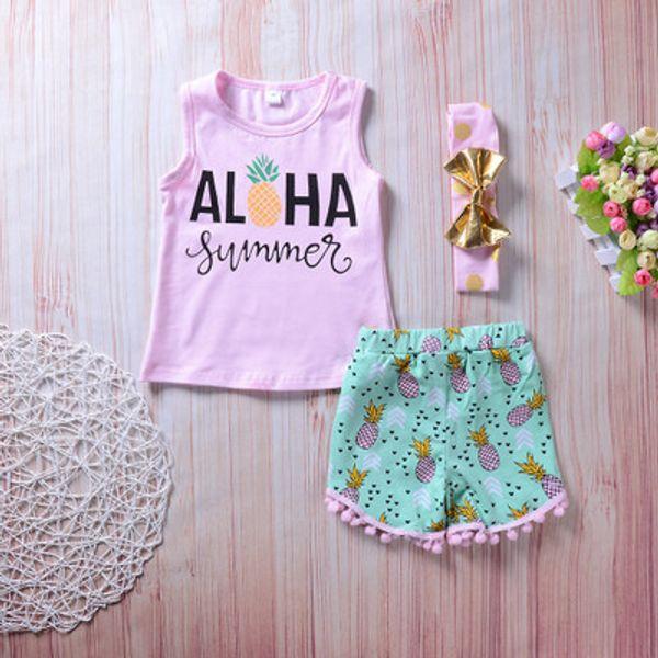 2018 Estate Toddler Bambini Ragazze Aloha Vest Tops + Pantaloncini in nappa con stampa ananas Hot Pant Headband 3PCS Outfits Abbigliamento Set 1-6Y
