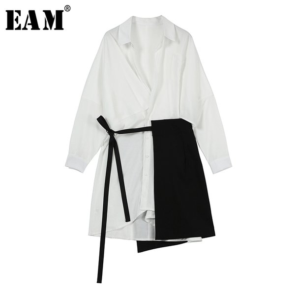 eam] 2020 new spring autumn lapel long sleeve white loose bandage split joint two piece shirt dress women fashion tide js107, Black;gray