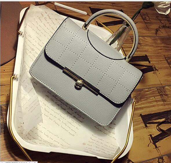 New fashion simple cross-body bag with embroidered plaid Turnlock handbag