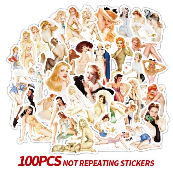 100 Pcs Retro poster Sexy Girl Stickers Laptop Motorcycle Skateboard Doodle DIY Poster Lady Sticker Home Decor Styling Decal Toys