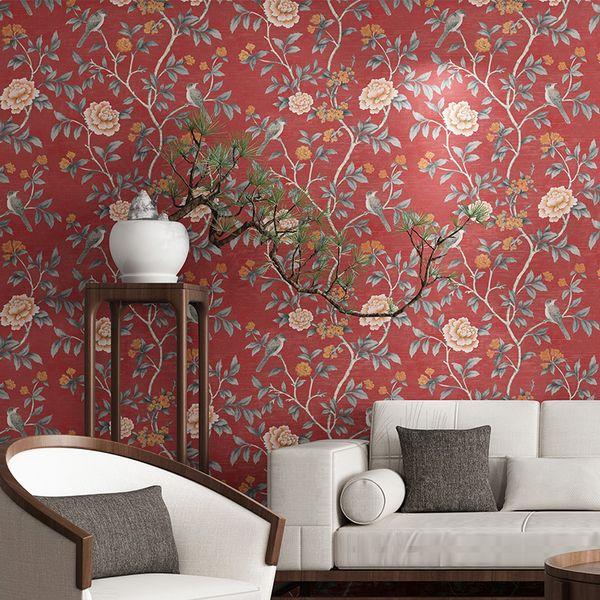 Großhandel Chinesische Tapeten Klassische Blumen Und Vogel Weinlese Rote  Tapeten Wohnzimmer Schlafzimmer Blaue Gelbe Restaurant Hintergrund Wand Von  ...