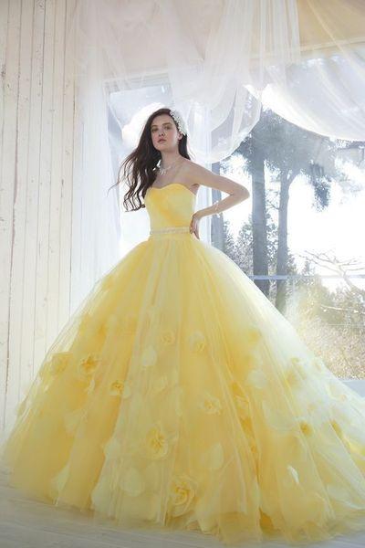 Princesa Quinceañera Vestidos Amarillos vestidos de quinceañera Dulce 15 años Vestido sin tirantes Floral Vestidos de baile más vestidos de noche
