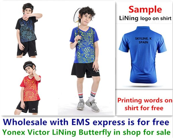 top popular Wholesale EMS for free, Text printing for free, LiNing new kid children badminton shirt clothes table tennis T sport shirt clothes b026 2020