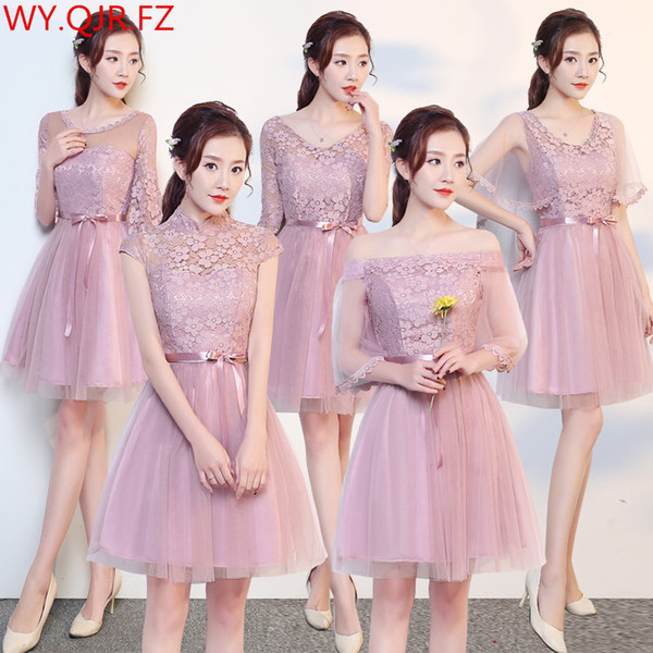MNYG2945Z#The bridesmaid dresses purple short new spring summer 2017 bride toast wedding prom party gown cheap wholesale