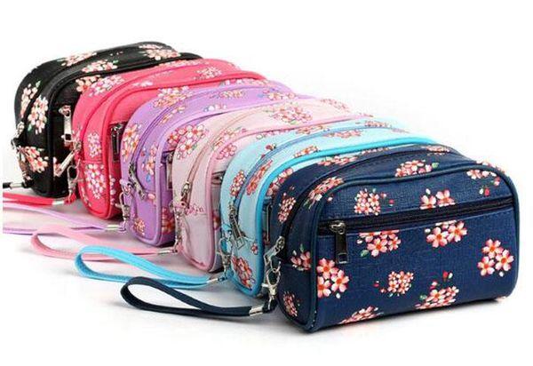 Women PU hand bag print pomegranate flower bag organizer travel cosmetics, makeup brush storage bag 6 colors