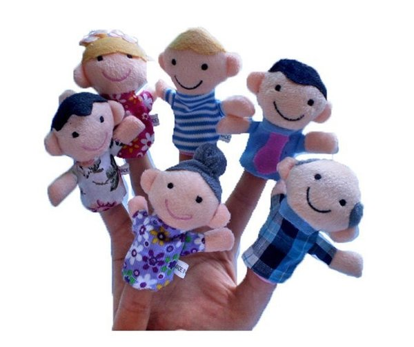 top popular Creative Family Puppet Plush Finger Toy Dolls 6pcs a set Kids Baby Early Educational Toys Wholesale 2021