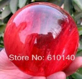 Nouveau ++ SCY Crystal Cherry Red magnifique jolie sphère de quartz BALL 60mm + stand