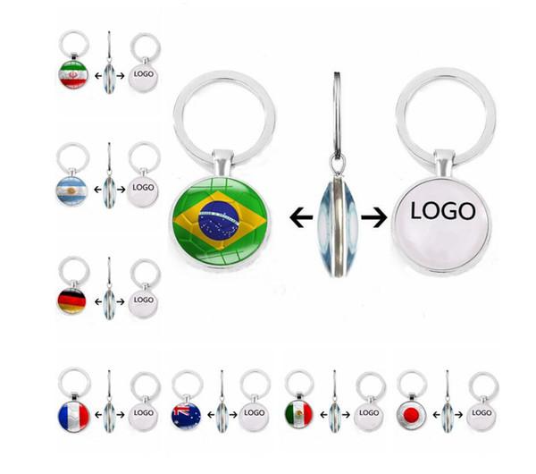 Creative Designer Keychain Coupe du monde 32 Drapeau Porte-clés Football Temps Gem Porteclés voiture Pendentif logo personnalisé en gros