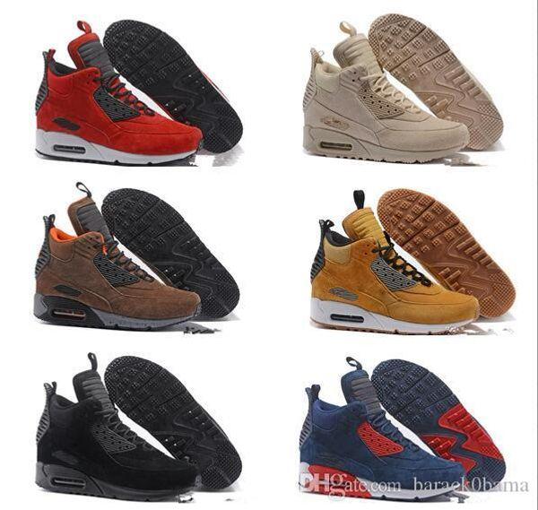 Sneaker Air Fur in pelle scamosciata Best Quality 90 Sneakerboot Running Shoes Scarpa sneaker alta uomo inverno Per la vendita online calda taglia Eur 40-46.