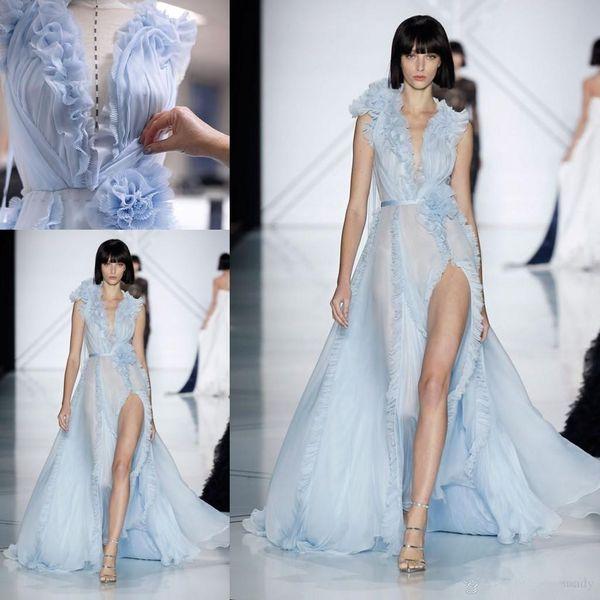 Sky Blue Elegant Split Evening Formal Dresses with Flower 2018 Ralph & Russo V-neck Ruffles Floral Flowing Celebrity Prom Gowns