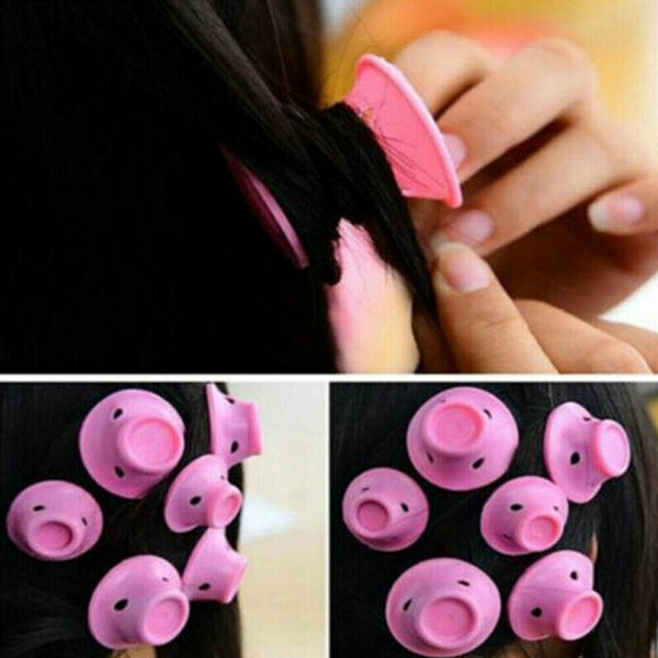 Rizador de pelo suave y mágico rizador de pelo estilo de pelo peinado cuidado suave bricolaje peco roll salon rodillo de pelo de silicona rosa rosa 03