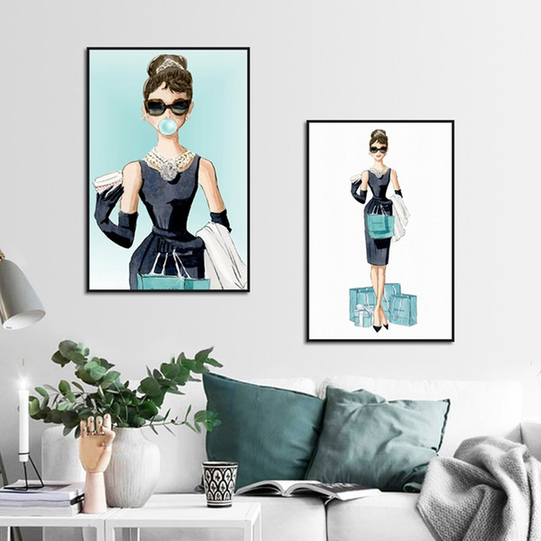 Pinturas de la burbuja de dibujos animados Audrey Hepburn Póster diamante azul Señora Shopping lona imprimen la pintura cuadros de la pared Sala de estar Decoración