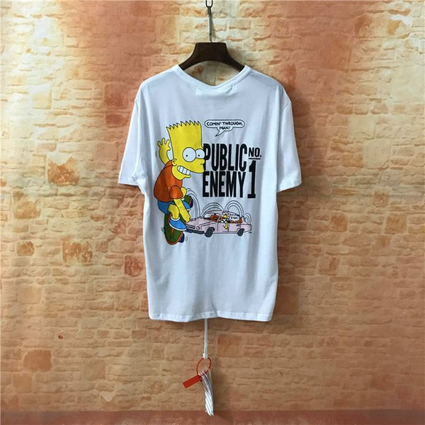 2019 summer new white cartoon image letter pattern casual short-sleeved men and women with the same round neck T-shirt