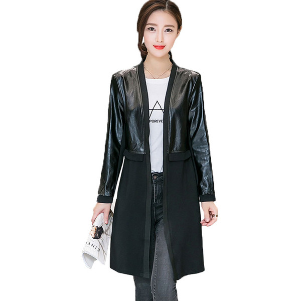 2019 Spring Autumn New PU leather Jacket Women Cardigan trench Coat in long stitching Slim fashion Loose Female overcoats LJ307