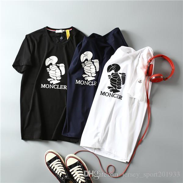 19ss MENGKOU Parigi degli amanti del cotone magliette MC Uomo Casual manica corta T di estate respirabile della maglia della camicia Streetwear esterna T-shirt