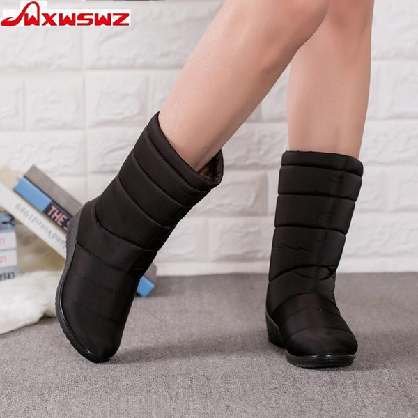 2019 WXWSWZ Winter Women Boots Mid-Calf Down Boots Girls Winter Shoes Woman Plush Insole Botas Female Waterproof Ladies Snow Boots