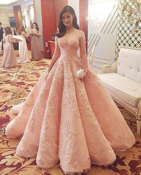 Gorgeous Blush Pink Ball Gown Evening Dresses Lace Applique Sheer Jewel Neck Short Sleeves Prom Party Gowns Sweet Princess Quinceanera Dress