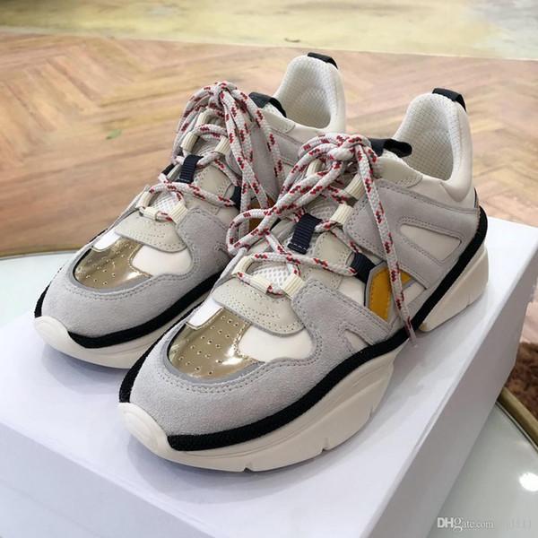 Zapatos viejos que cuatro estaciones Nuevo cuero verdadero del color a juego de las mujeres cómodas zapatillas deportivas Hit Fashion Color mollete inferior grueso informal Wo