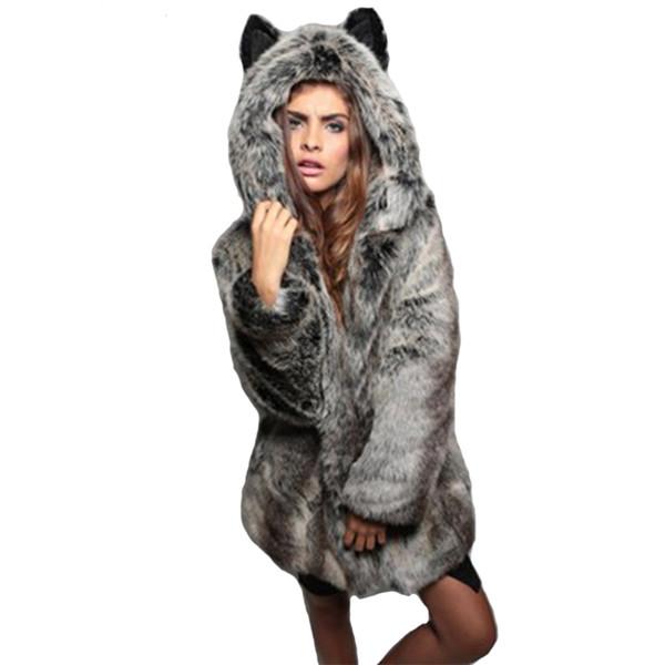 Fashion Faux Fur Coat Winter Women Winter Jacket For Women's Plus Size Long Sleeve Pocket Hooded Ear Cartoon Plush Coat