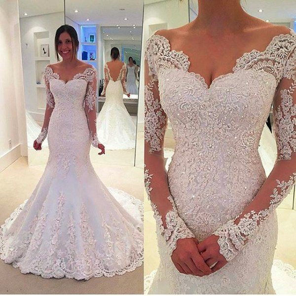 new sexy long mermaid wedding dresses beaded appliques with full sleeves wedding party gowns hot sale