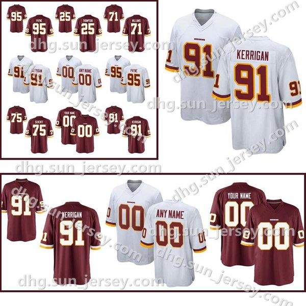 buy online 7ec9a 13043 2019 Custom Washington 91 Ryan Kerrigan Redskins Jersey 1 Da'Ron Payne 71  Trent Williams 44 John Riggins 93 Jonathan Allen Stitched Jerseys From ...