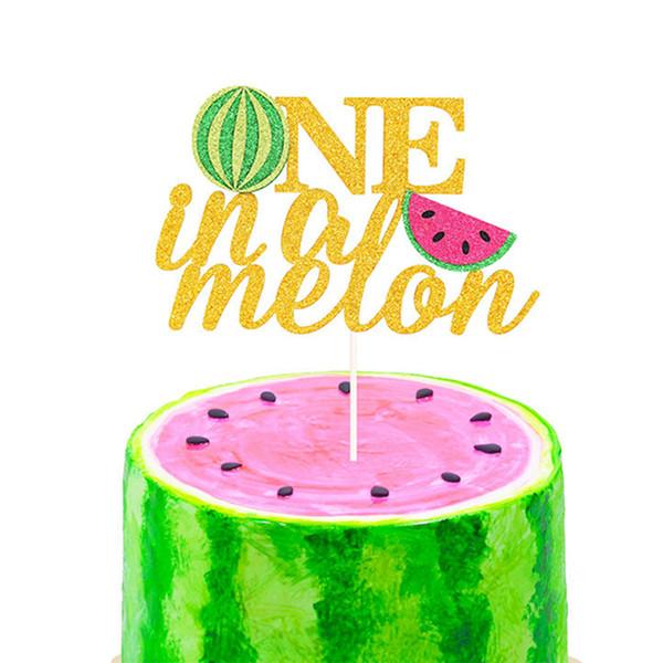 Watermelon Party Supplies 1. Geburtstags-Kuchen-Dekoration One In A Melone-Kuchen-Deckel Gold-