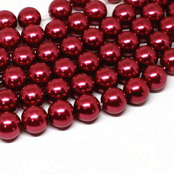 Высокое качество темно-красный смоделированы перламутра оболочка круглых свободных шарики 4-14mm очарование женщины подходят для поделок украшений ожерелья делают 15inch B1609