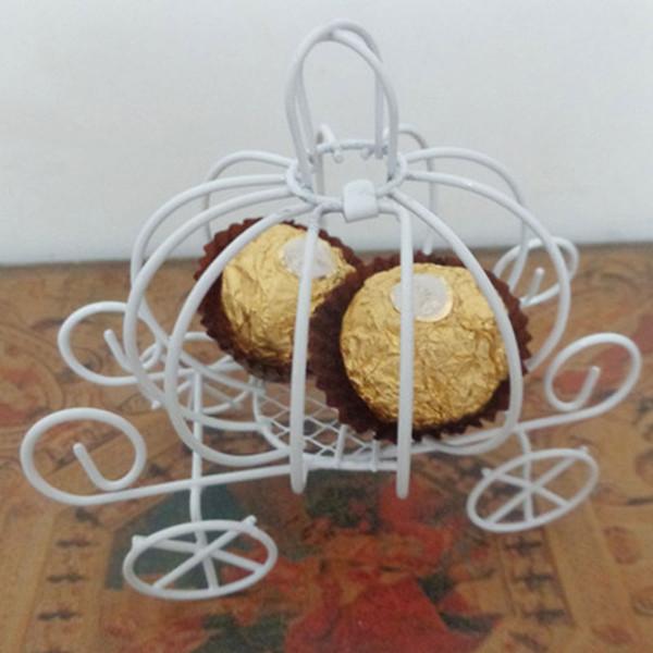 Car Shape Pumpkin Carriage White Iron Candy Box Wedding Decoration Party Supplies Candy Box Gift European Fashion