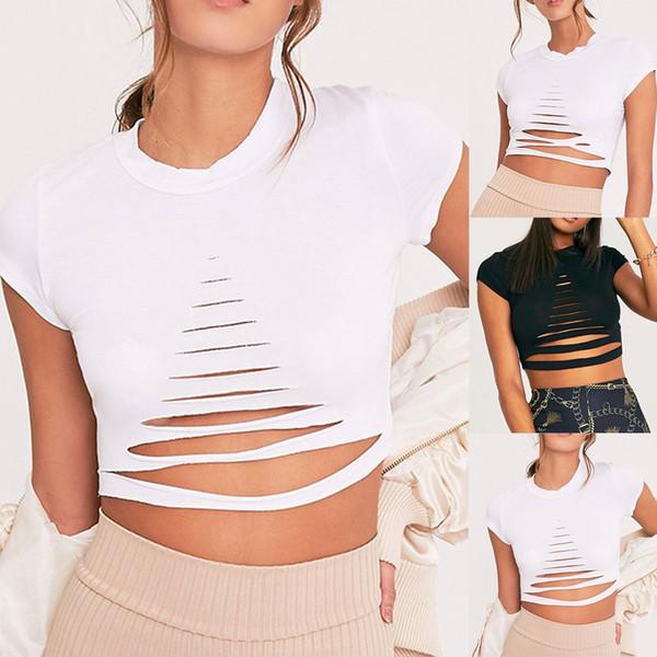 Printemps Été Sexy Womens Mode Dames de couleur unie O-cou Creux Hauts à manches courtes Cassé Cuivre Noir Blanc Crop Top