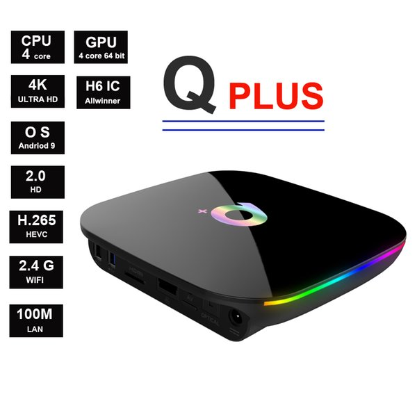 Q plus android 9 allwinner h6 quadcore suppot 4 karat 6 karat 2,4g wifi smart tv box