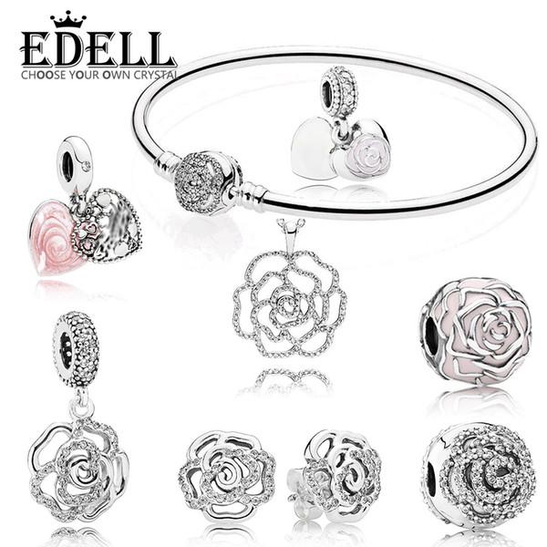 EDELL 100% 925 Colección de flor de plata esterlina rosa Pendientes de botón Pulsera Colgante Charm Clip Joyería encantadora y elegante