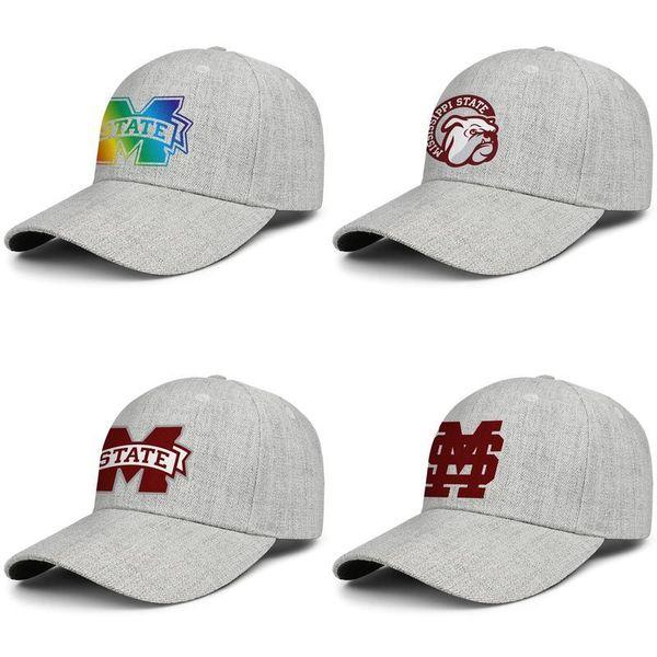 Mississippi State Bulldogs le football logo casquettes de laine de baseball unisexe snapback réglable design équipé chapeau balle plainSun Gay pride USA