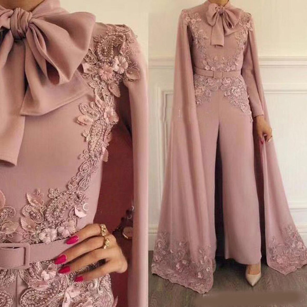 Elegant Pink Jumpsuits Evening Dresses With Wrap Long Sleeves Appliqued Plus Size Prom Dress Beaded Outfit Formal Party Gowns Custom