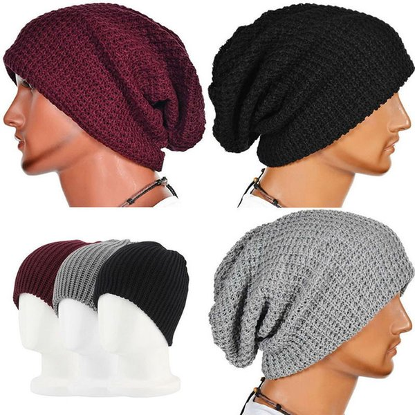 Unisex Chic Men Women Warm Winter Knit Beanie Skull Slouchy Oversize Cap Hat C18122501