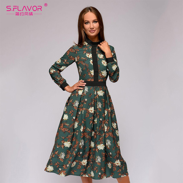 S.FLAVOR patchwork printing women A-line dress 2018 Autumn Winter vintage style vestidos for female Casual bottom long dress