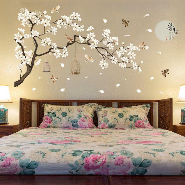 3D White Peach Birdcage Wall Stickers Home Decor Wardrobe Bedroom Decoration TV Sofa Wall Poster Flowers Bird PVC DIY Art Mural