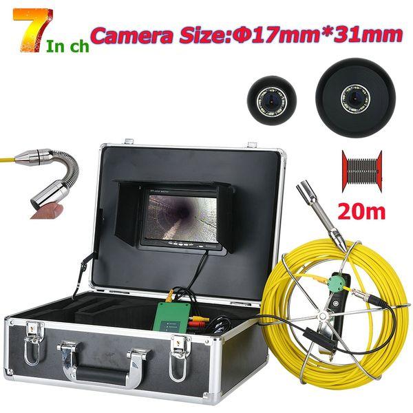 20 M 7 inç 17mm Endüstriyel Boru Kanalizasyon Muayene Video Kamera IP68 Su Geçirmez Drenaj Borusu Kanalizasyon Muayene Kamera Sistemi