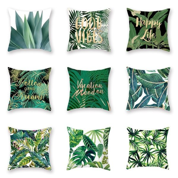 Groovy Green Plants Printed Casual Cushion Cover Square Polyester Home Decor Pillow Case Couch Chair Rest Pillow Case Wicker Chair Cushions Outdoor Outdoor Pabps2019 Chair Design Images Pabps2019Com