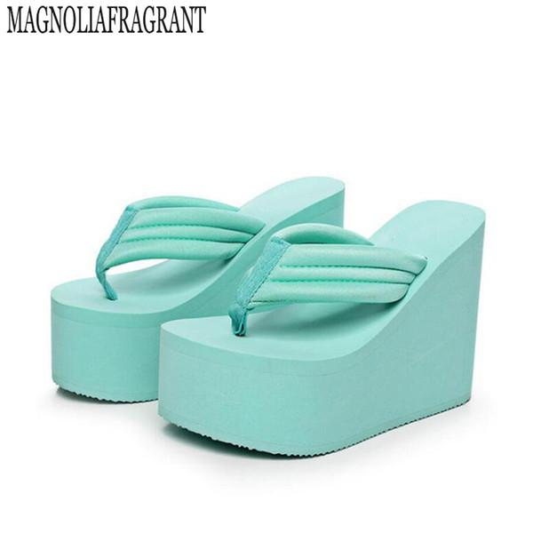 2019 zapatos de tacón ultra alto chanclas de mujer pendiente con sandalias de muffin de corteza gruesa zapatillas de mujer impermeables zapatillas s232