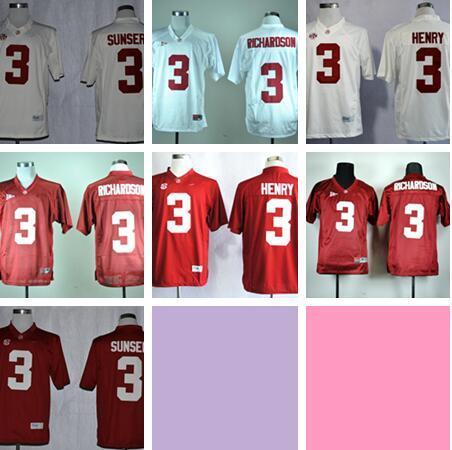 Personalizado NCAA Alabama Crimson Tide Faculdade de Futebol 3 Derrick Henry vermelho branco Homens preto Costurado Futebol Da Faculdade TAMANHO S-3XL