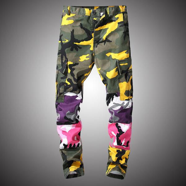 ultima selezione design professionale ottenere a buon mercato Acquista Pantaloni Colorati Patchwork Camo Pantaloni Camouflage Cargo  Pantaloni 2019 Uomo Casual Streetwear Jogging Pantaloni Tattici Hip Hop  WY232 A ...