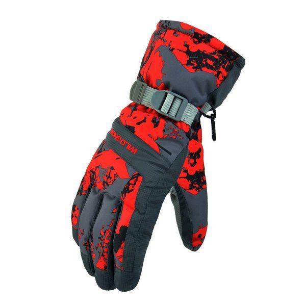 Guantes de esquí de nieve salvaje de invierno al aire libre a prueba de viento a prueba de viento transpirables gruesos guantes cálidos haz diseño a prueba de viento