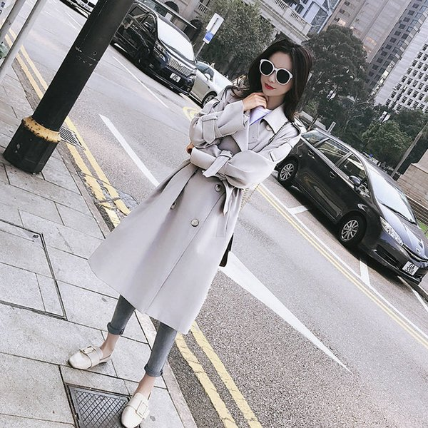 2019 new autumn winter women casual loose double breasted long trench coat with belt female chic maxi windbreaker outerwear r184