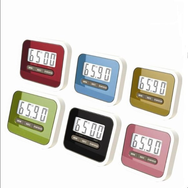 Free shipping Digital Kitchen Count Down/ Up LCD display Timer /clock Alarm with magnet stand clip