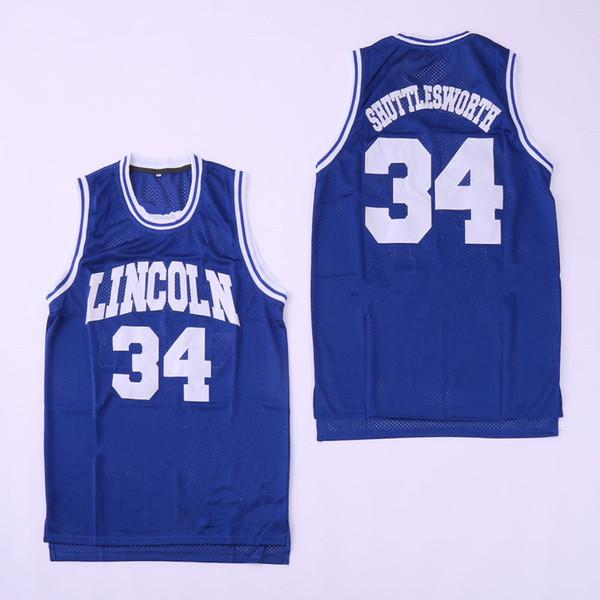 Chandail de basket-ball Lincoln il a obtenu un maillot de basket-ball # 34 pour homme blanc et bleu Chemises rouges brodées Logos cousus Uniforme